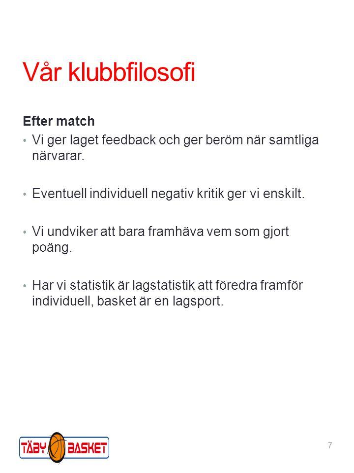 Efter match Vi ger laget feedback och ger beröm när samtliga närvarar. Eventuell individuell negativ kritik ger vi enskilt. Vi undviker att bara framh