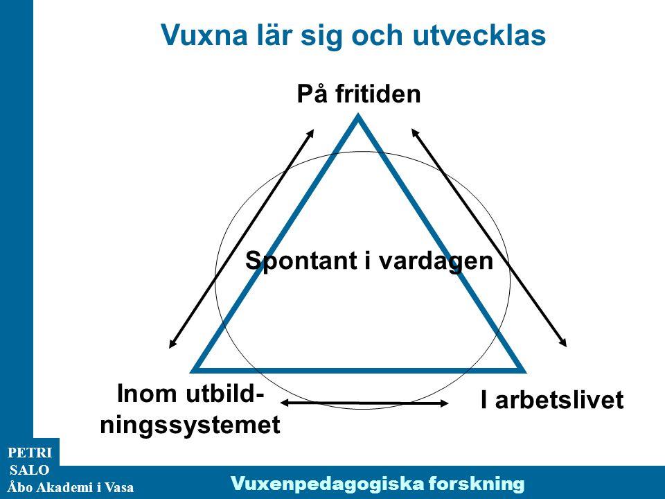 ÅA/Ped.inst. PETRI SALO Åbo Akademi i Vasa Vuxna lär sig och utvecklas Inom utbild- ningssystemet I arbetslivet På fritiden Spontant i vardagen Vuxenp