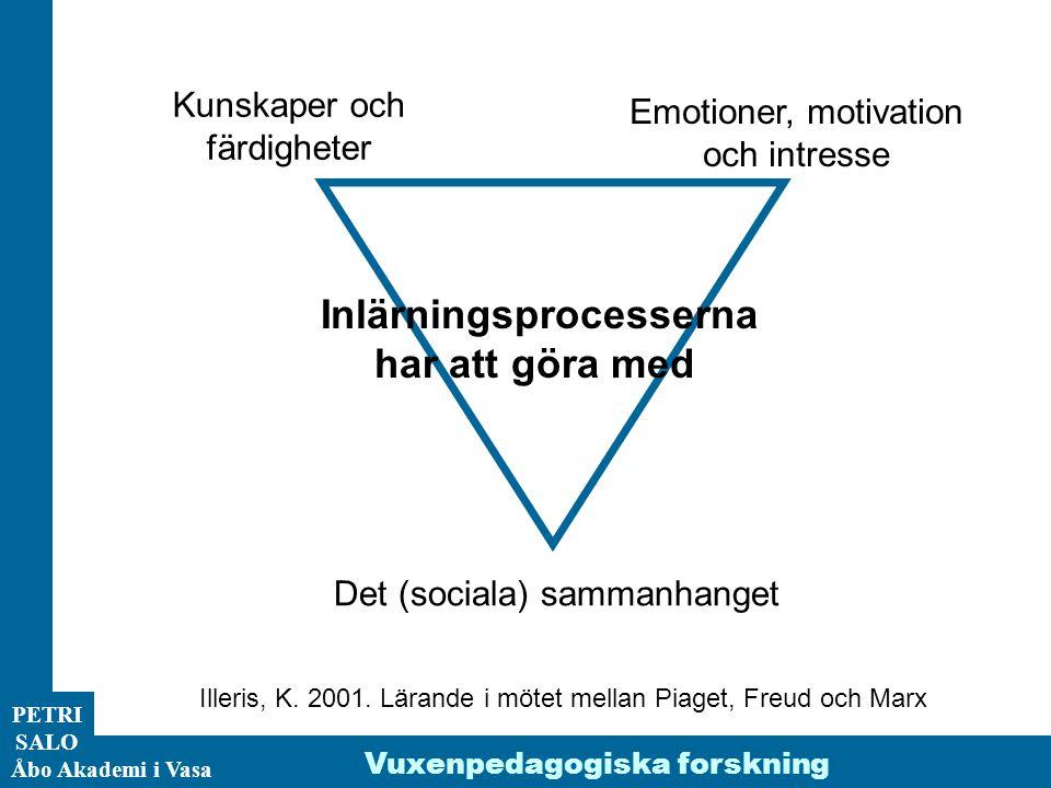 ÅA/Ped.inst. PETRI SALO Åbo Akademi i Vasa Inlärningsprocesserna har att göra med Kunskaper och färdigheter Emotioner, motivation och intresse Det (so