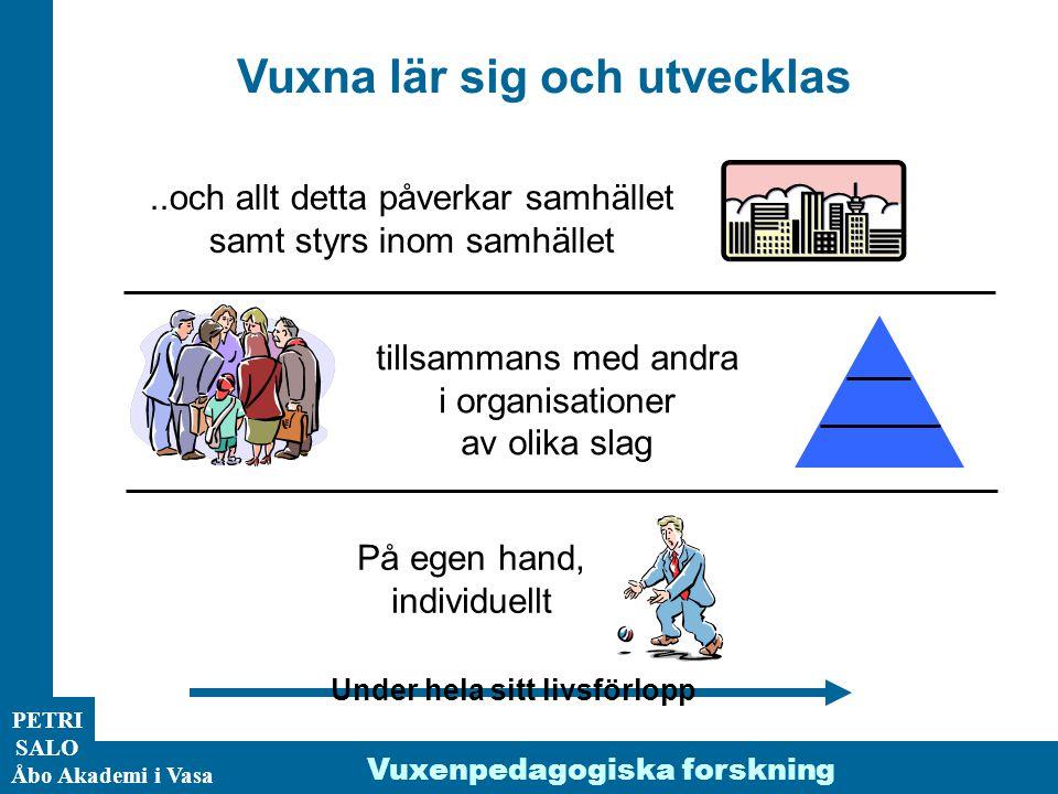 ÅA/Ped.inst. PETRI SALO Åbo Akademi i Vasa Vuxna lär sig och utvecklas På egen hand, individuellt tillsammans med andra i organisationer av olika slag
