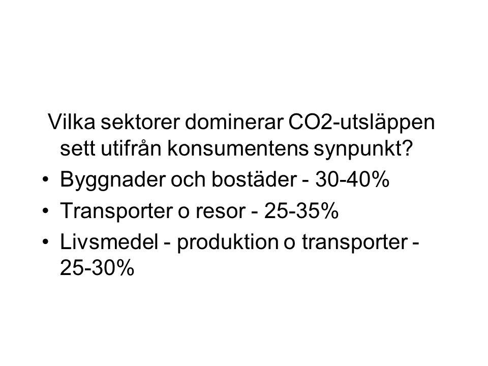 Vilka sektorer dominerar CO2-utsläppen sett utifrån konsumentens synpunkt.