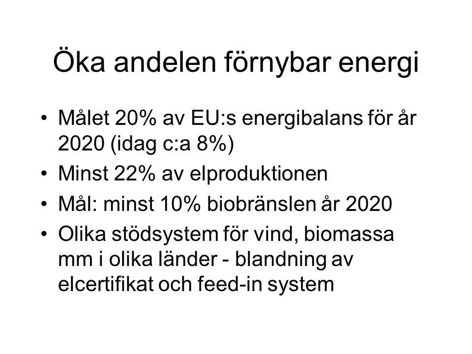 Öka andelen förnybar energi Målet 20% av EU:s energibalans för år 2020 (idag c:a 8%) Minst 22% av elproduktionen Mål: minst 10% biobränslen år 2020 Olika stödsystem för vind, biomassa mm i olika länder - blandning av elcertifikat och feed-in system