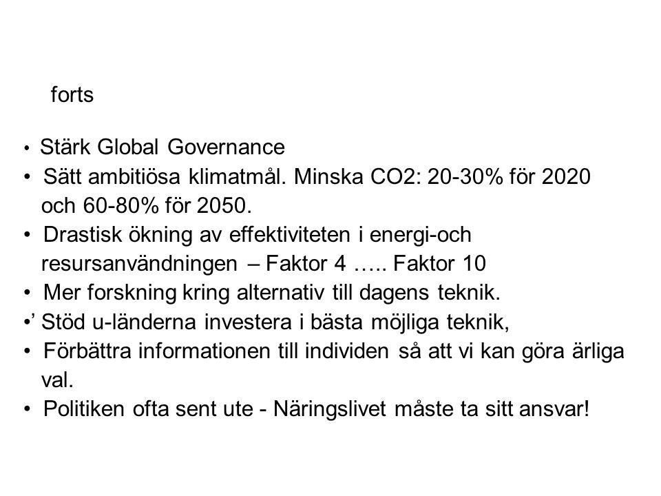 Stärk Global Governance Sätt ambitiösa klimatmål. Minska CO2: 20-30% för 2020 och 60-80% för 2050.