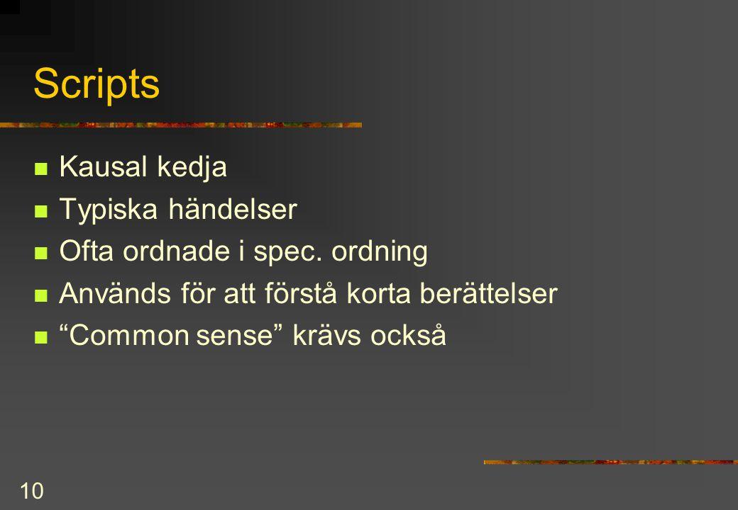 10 Scripts Kausal kedja Typiska händelser Ofta ordnade i spec.