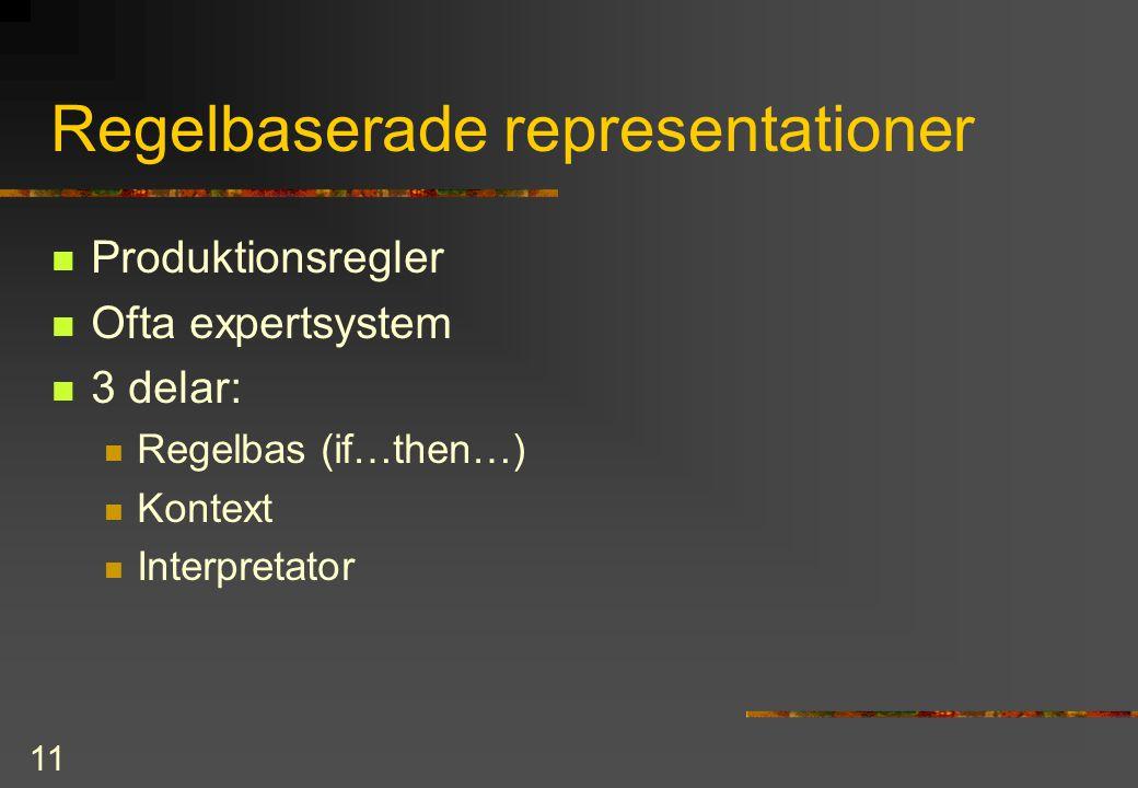 11 Regelbaserade representationer Produktionsregler Ofta expertsystem 3 delar: Regelbas (if…then…) Kontext Interpretator