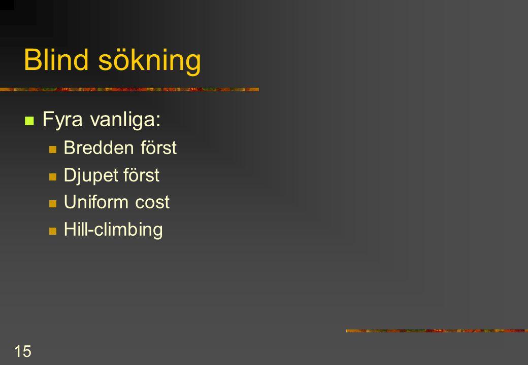 15 Blind sökning Fyra vanliga: Bredden först Djupet först Uniform cost Hill-climbing