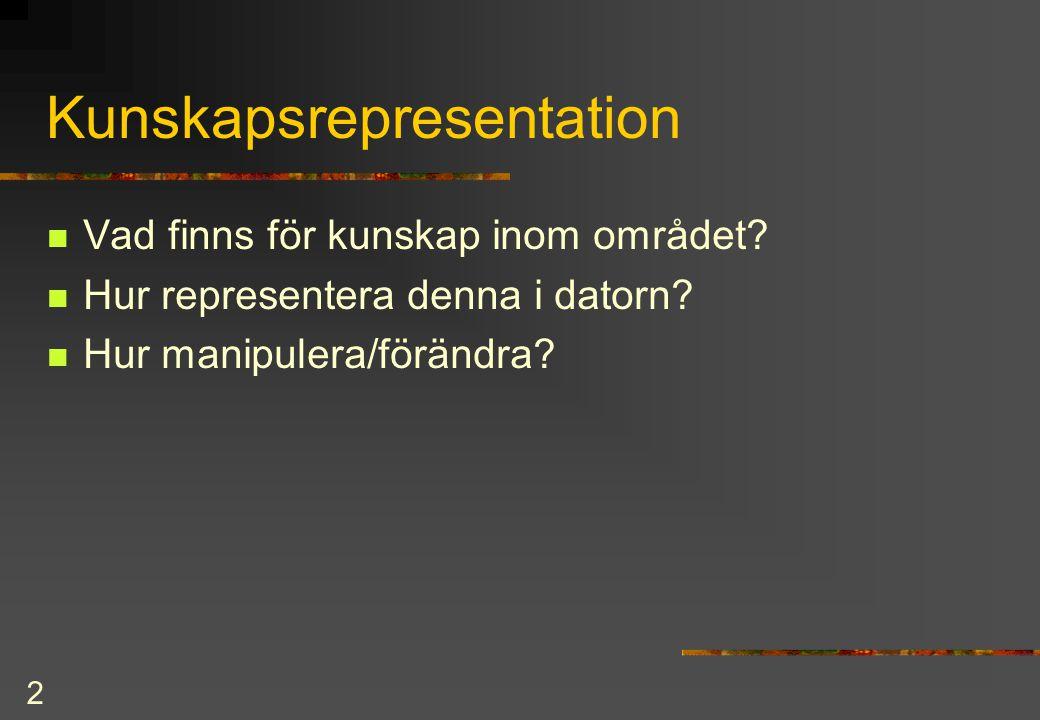 3 Sökning = Val bland alternativ Relaterat till kunskapsrepresentation Vad är en (tillräckligt) bra lösning.