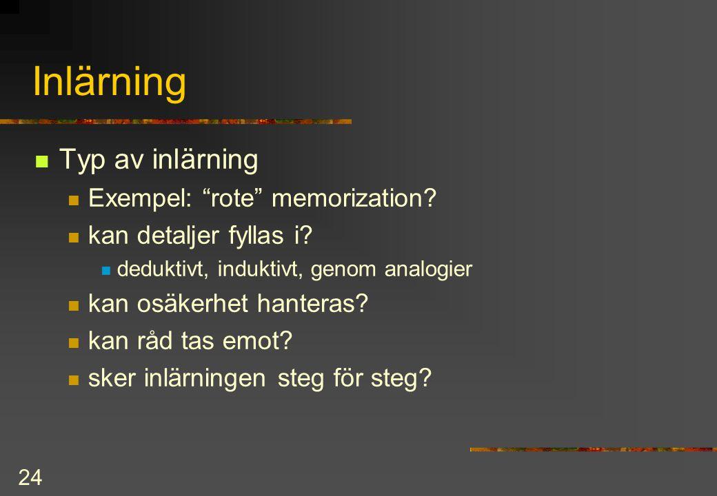 24 Inlärning Typ av inlärning Exempel: rote memorization.