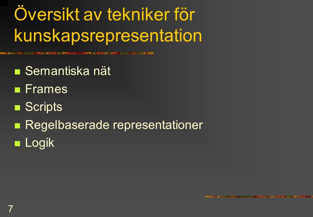 7 Översikt av tekniker för kunskapsrepresentation Semantiska nät Frames Scripts Regelbaserade representationer Logik