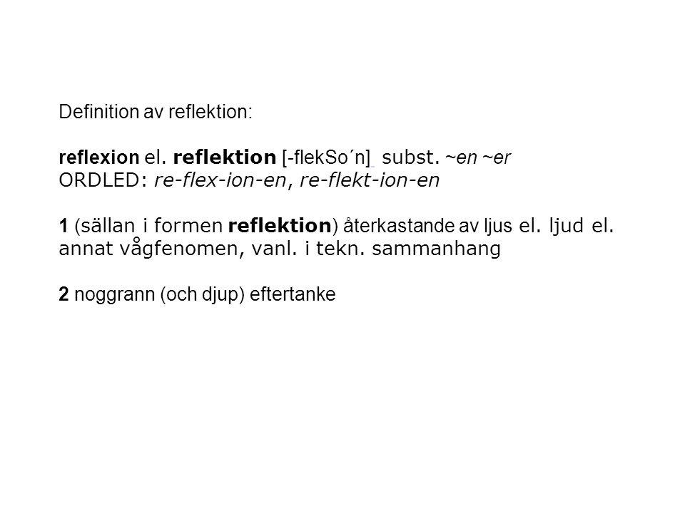 Definition av reflektion: reflexion el. reflektion [-flekSo´n] subst. ~en ~er ORDLED: re-flex-ion-en, re-flekt-ion-en 1 ( sällan i formen reflektion )