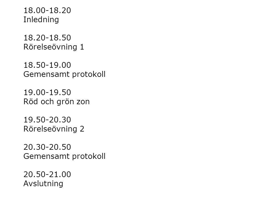 18.00-18.20 Inledning 18.20-18.50 Rörelseövning 1 18.50-19.00 Gemensamt protokoll 19.00-19.50 Röd och grön zon 19.50-20.30 Rörelseövning 2 20.30-20.50