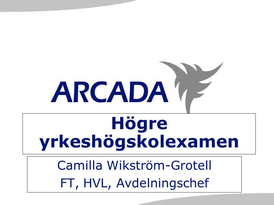 Högre yrkeshögskolexamen Camilla Wikström-Grotell FT, HVL, Avdelningschef