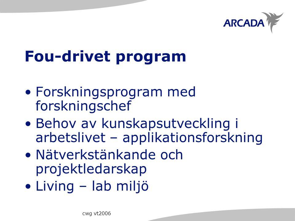 cwg vt2006 Fou-drivet program Forskningsprogram med forskningschef Behov av kunskapsutveckling i arbetslivet – applikationsforskning Nätverkstänkande