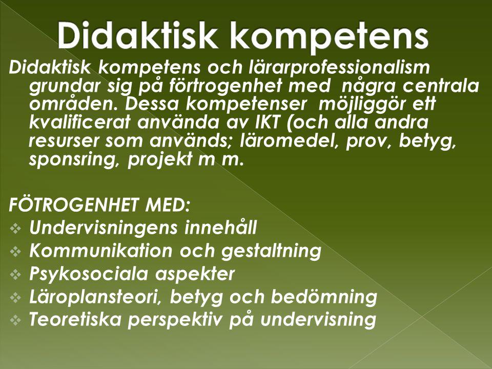 Didaktisk kompetens och lärarprofessionalism grundar sig på förtrogenhet med några centrala områden.