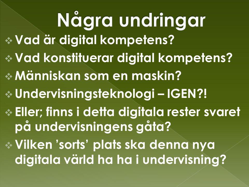  Vad är digital kompetens.  Vad konstituerar digital kompetens.