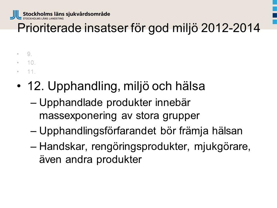 Prioriterade insatser för god miljö 2012-2014 9.10.