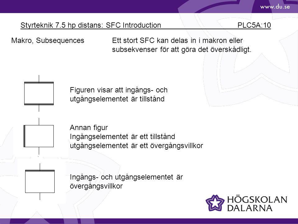Styrteknik 7.5 hp distans: SFC Introduction PLC5A:10 Makro, SubsequencesEtt stort SFC kan delas in i makron eller subsekvenser för att göra det överskådligt.