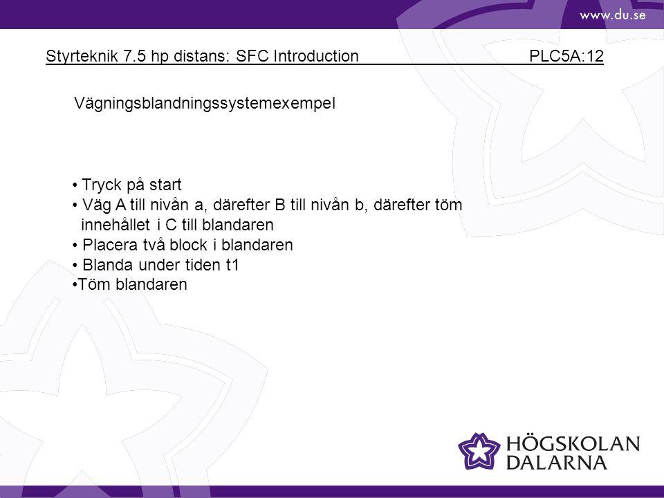 Styrteknik 7.5 hp distans: SFC Introduction PLC5A:12 Vägningsblandningssystemexempel Tryck på start Väg A till nivån a, därefter B till nivån b, däref