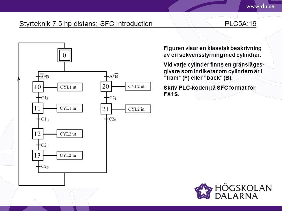Styrteknik 7.5 hp distans: SFC Introduction PLC5A:19 Figuren visar en klassisk beskrivning av en sekvensstyrning med cylindrar.