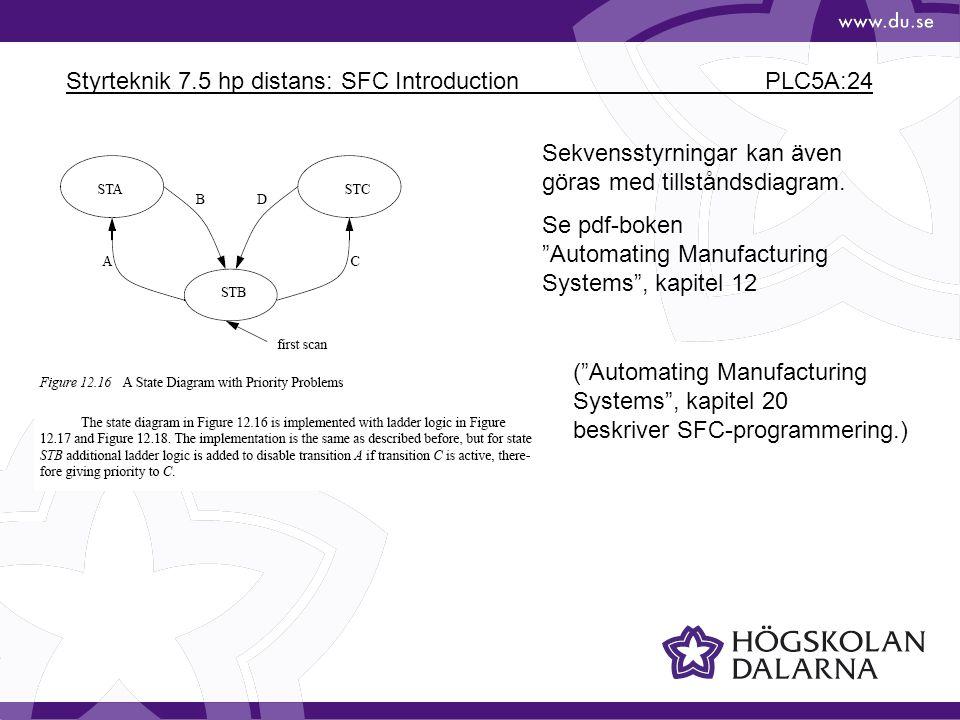 """Styrteknik 7.5 hp distans: SFC Introduction PLC5A:24 Sekvensstyrningar kan även göras med tillståndsdiagram. Se pdf-boken """"Automating Manufacturing Sy"""