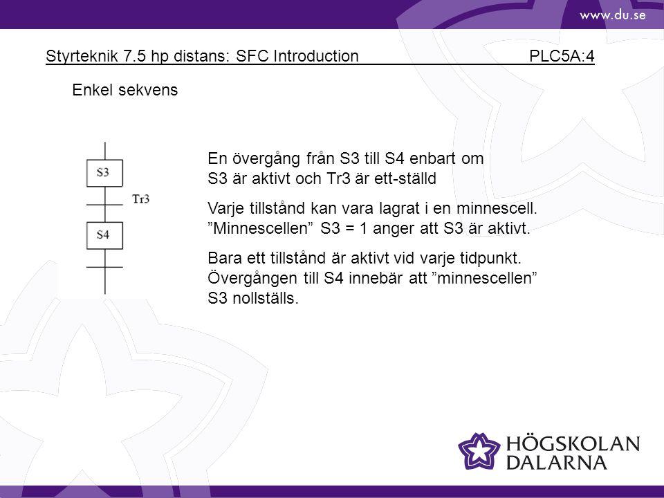 Styrteknik 7.5 hp distans: SFC Introduction PLC5A:4 Enkel sekvens En övergång från S3 till S4 enbart om S3 är aktivt och Tr3 är ett-ställd Varje tills