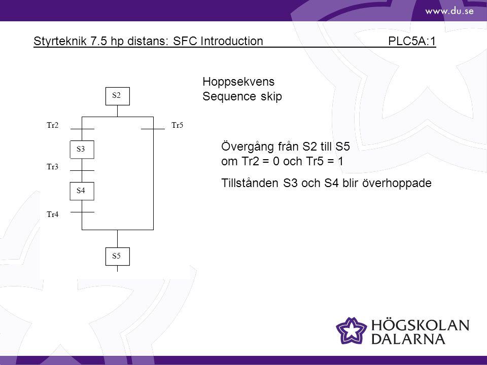 Styrteknik 7.5 hp distans: SFC Introduction PLC5A:1 Hoppsekvens Sequence skip Övergång från S2 till S5 om Tr2 = 0 och Tr5 = 1 Tillstånden S3 och S4 blir överhoppade