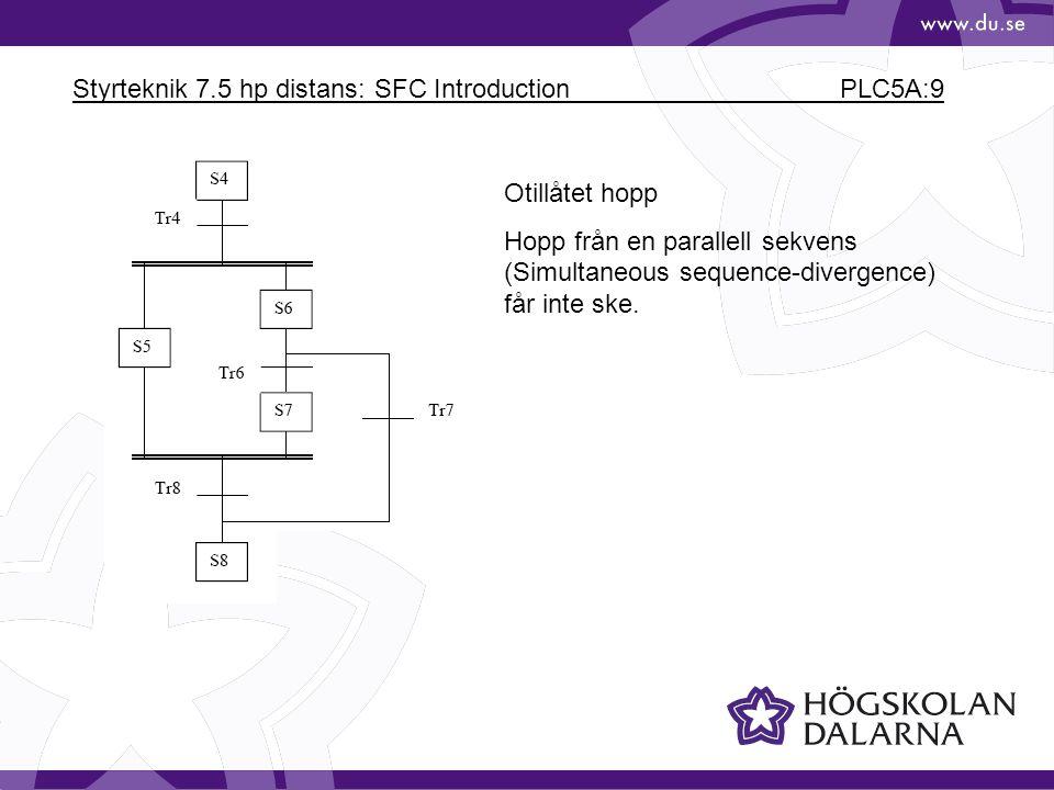 Styrteknik 7.5 hp distans: SFC Introduction PLC5A:9 Otillåtet hopp Hopp från en parallell sekvens (Simultaneous sequence-divergence) får inte ske.