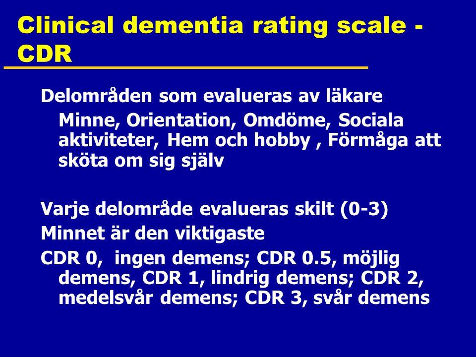 Clinical dementia rating scale - CDR Delområden som evalueras av läkare Minne, Orientation, Omdöme, Sociala aktiviteter, Hem och hobby, Förmåga att sköta om sig själv Varje delområde evalueras skilt (0-3) Minnet är den viktigaste CDR 0, ingen demens; CDR 0.5, möjlig demens, CDR 1, lindrig demens; CDR 2, medelsvår demens; CDR 3, svår demens