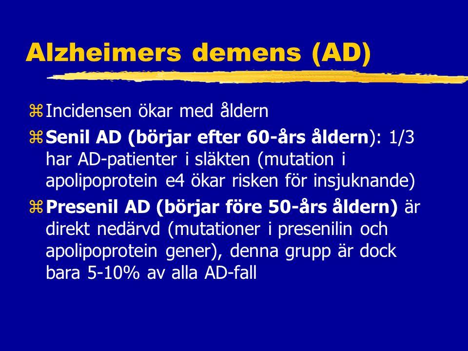 Alzheimers demens (AD) zIncidensen ökar med åldern zSenil AD (börjar efter 60-års åldern): 1/3 har AD-patienter i släkten (mutation i apolipoprotein e4 ökar risken för insjuknande) zPresenil AD (börjar före 50-års åldern) är direkt nedärvd (mutationer i presenilin och apolipoprotein gener), denna grupp är dock bara 5-10% av alla AD-fall