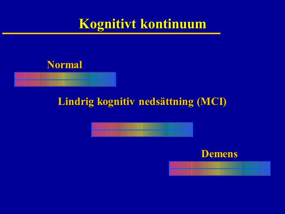 Kognitivt kontinuum Normal Lindrig kognitiv nedsättning (MCI) Demens
