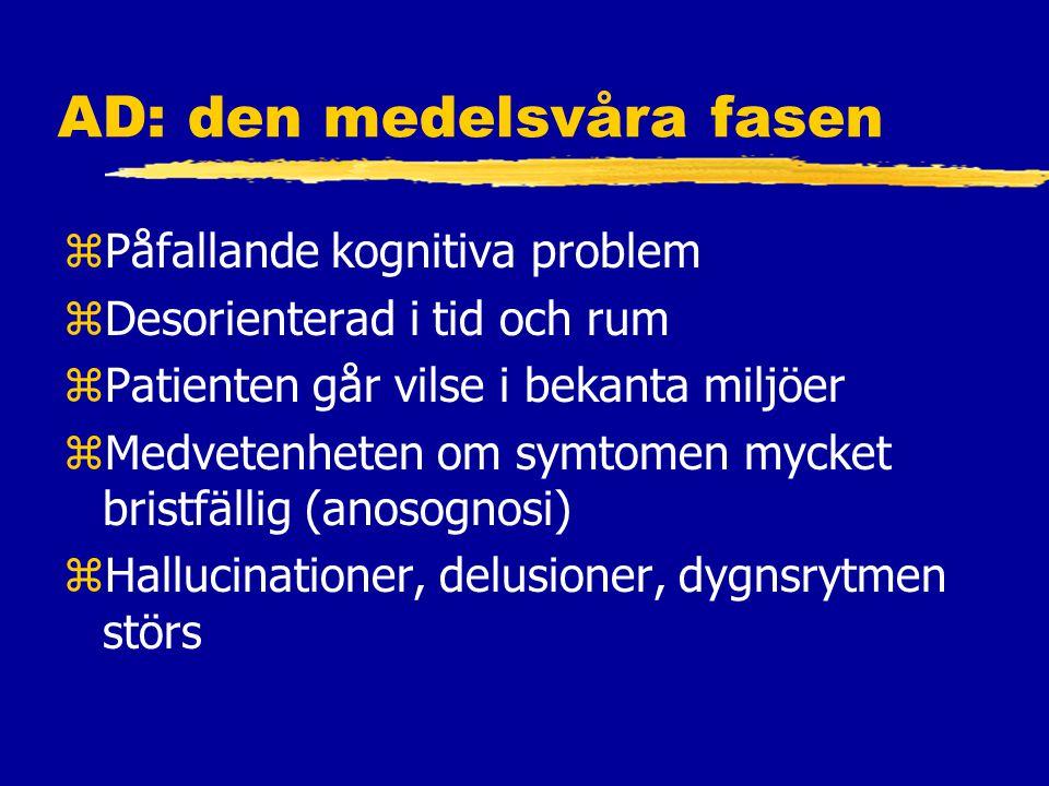 AD: den medelsvåra fasen zPåfallande kognitiva problem zDesorienterad i tid och rum zPatienten går vilse i bekanta miljöer zMedvetenheten om symtomen mycket bristfällig (anosognosi) zHallucinationer, delusioner, dygnsrytmen störs