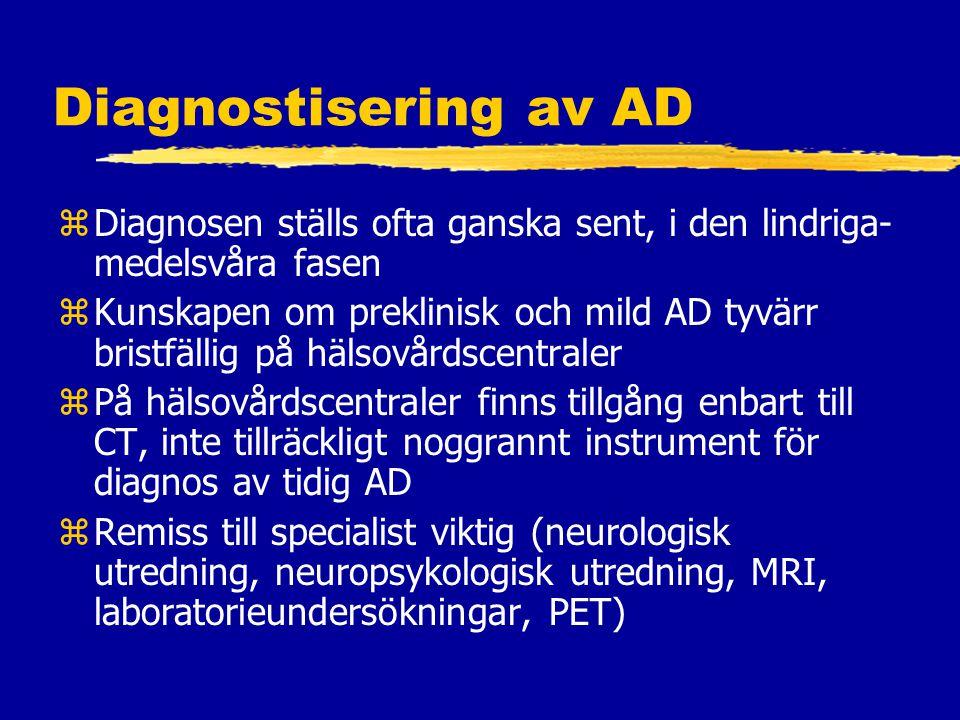 Diagnostisering av AD zDiagnosen ställs ofta ganska sent, i den lindriga- medelsvåra fasen zKunskapen om preklinisk och mild AD tyvärr bristfällig på hälsovårdscentraler zPå hälsovårdscentraler finns tillgång enbart till CT, inte tillräckligt noggrannt instrument för diagnos av tidig AD zRemiss till specialist viktig (neurologisk utredning, neuropsykologisk utredning, MRI, laboratorieundersökningar, PET)