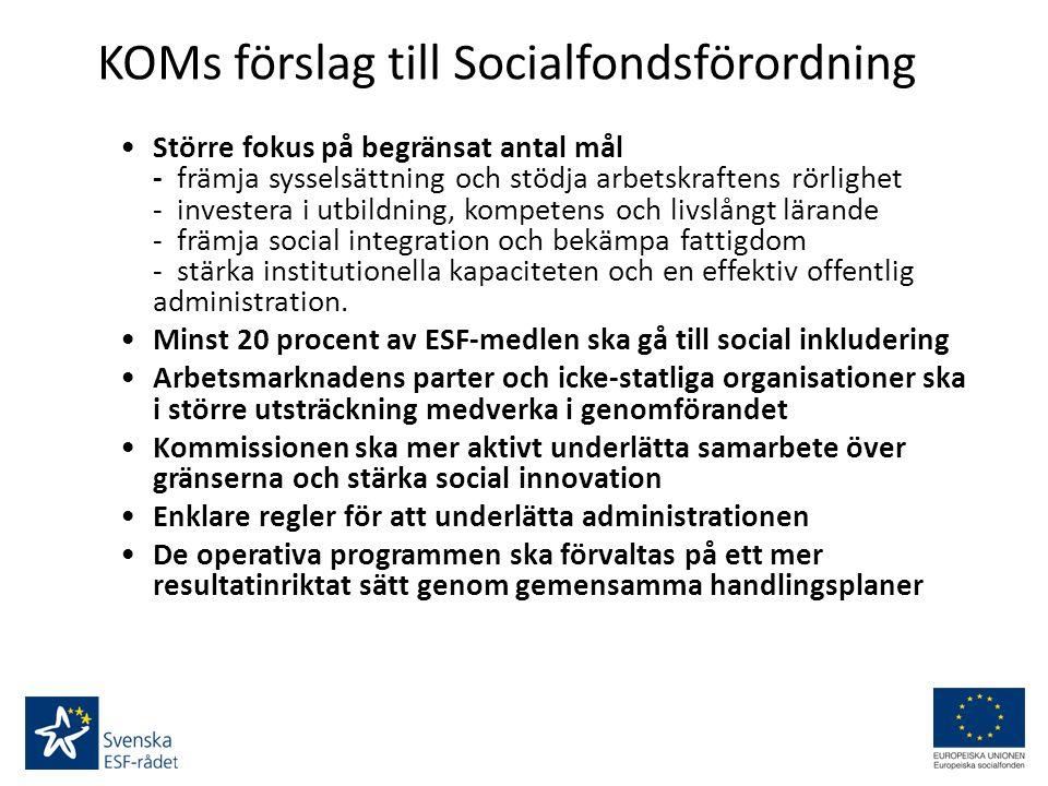 KOMs förslag till Socialfondsförordning Större fokus på begränsat antal mål - främja sysselsättning och stödja arbetskraftens rörlighet - investera i utbildning, kompetens och livslångt lärande - främja social integration och bekämpa fattigdom - stärka institutionella kapaciteten och en effektiv offentlig administration.