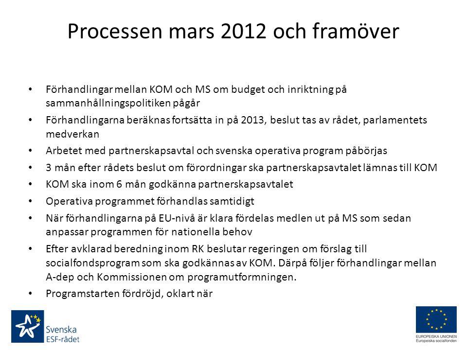 Processen mars 2012 och framöver Förhandlingar mellan KOM och MS om budget och inriktning på sammanhållningspolitiken pågår Förhandlingarna beräknas fortsätta in på 2013, beslut tas av rådet, parlamentets medverkan Arbetet med partnerskapsavtal och svenska operativa program påbörjas 3 mån efter rådets beslut om förordningar ska partnerskapsavtalet lämnas till KOM KOM ska inom 6 mån godkänna partnerskapsavtalet Operativa programmet förhandlas samtidigt När förhandlingarna på EU-nivå är klara fördelas medlen ut på MS som sedan anpassar programmen för nationella behov Efter avklarad beredning inom RK beslutar regeringen om förslag till socialfondsprogram som ska godkännas av KOM.