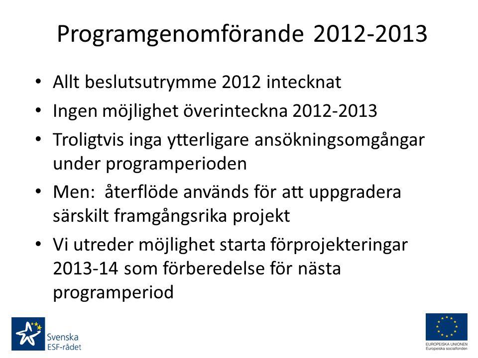 Programgenomförande 2012-2013 Allt beslutsutrymme 2012 intecknat Ingen möjlighet överinteckna 2012-2013 Troligtvis inga ytterligare ansökningsomgångar