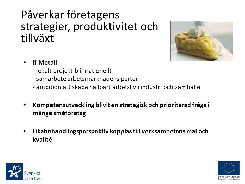 Påverkar företagens strategier, produktivitet och tillväxt If Metall - lokalt projekt blir nationellt - samarbete arbetsmarknadens parter - ambition att skapa hållbart arbetsliv i industri och samhälle Kompetensutveckling blivit en strategisk och prioriterad fråga i många småföretag Likabehandlingsperspektiv kopplas till verksamhetens mål och kvalité