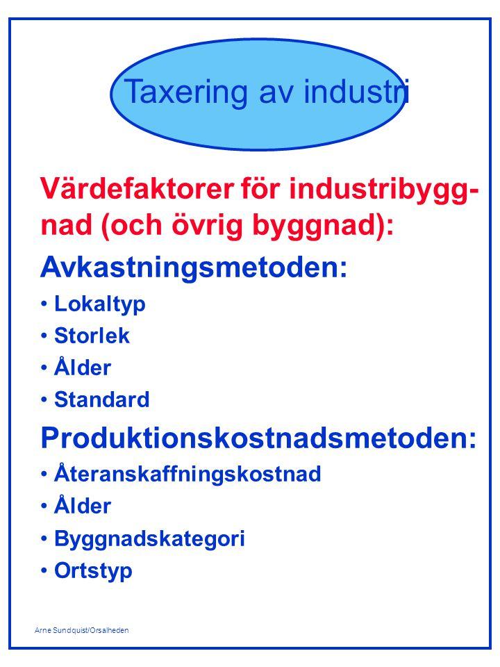 Arne Sundquist/Orsalheden Taxering av industri Produktionskostnads- metoden: Värdefaktorn Återanskaffnings- kostnad: Med återanskaffningskostnad för byggnad avses kostnaden för att under andra året före taxeringsåret uppföra en motsvarande anläggning.