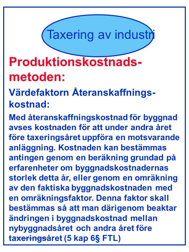 Arne Sundquist/Orsalheden Taxering av industri Värdefaktorer för elproduktions- enheter: Vattenkraftverk: - normalårsproduktion, kWh - utnyttjandetid - flerårsreglering - belägenhet - ålder Värmekraftverk/vindkraftverk: - effekt, kW - typ av kraftverk - ålder