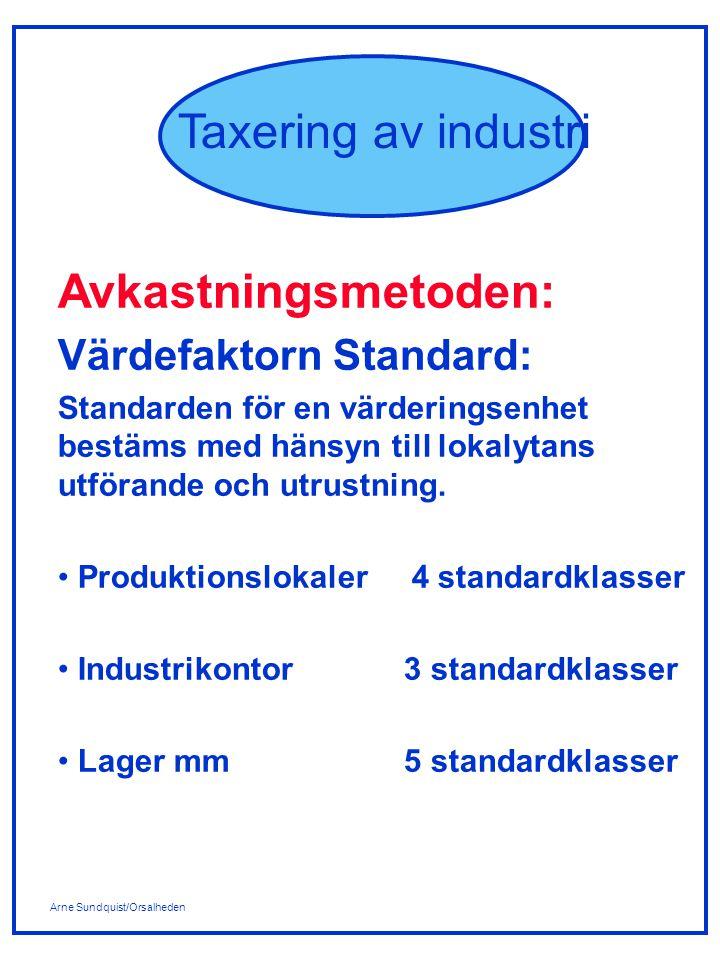 Arne Sundquist/Orsalheden Taxering av industri Avkastningsmetoden: Värdefaktorn Standard: Standarden för en värderingsenhet bestäms med hänsyn till lokalytans utförande och utrustning.