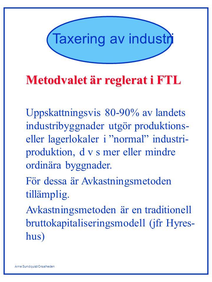 Arne Sundquist/Orsalheden Taxering av industri Metodvalet är reglerat i FTL Uppskattningsvis 80-90% av landets industribyggnader utgör produktions- eller lagerlokaler i normal industri- produktion, d v s mer eller mindre ordinära byggnader.