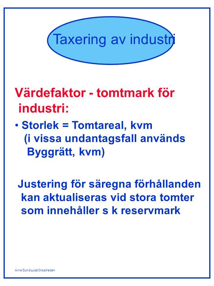 Arne Sundquist/Orsalheden Taxering av industri Avkastningsmetoden: Riktvärdeangivelsen för ett värdeområde innehåller följande: - riktvärdeangivelse för tomtmark i kr/kvm t ex 400TA (=400 kr/kvm tomtareal) - riktvärdeangivelse för industri- byggnad t ex 14,0/90 där 14,0 är I-nivåfaktorn och 90 är åldersinverkan I-nivåfaktorn är ett mått på lägesfaktorn och innehåller dels en hyreskomponent dels en kapitaliseringskomponent.