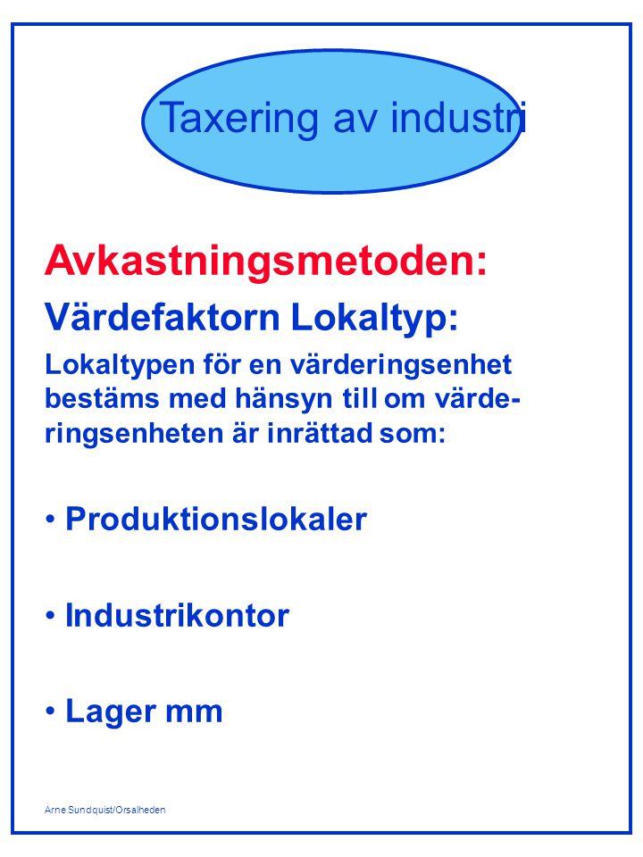 Arne Sundquist/Orsalheden Taxering av industri Avkastningsmetoden: Värdefaktorn Lokaltyp: Lokaltypen för en värderingsenhet bestäms med hänsyn till om värde- ringsenheten är inrättad som: Produktionslokaler Industrikontor Lager mm