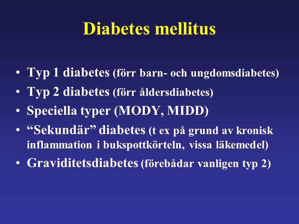 """Diabetes mellitus Typ 1 diabetes (förr barn- och ungdomsdiabetes) Typ 2 diabetes (förr åldersdiabetes) Speciella typer (MODY, MIDD) """"Sekundär"""" diabete"""