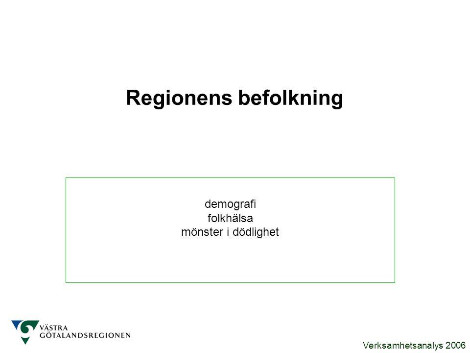 Verksamhetsanalys 2006 Regionens befolkning demografi folkhälsa mönster i dödlighet