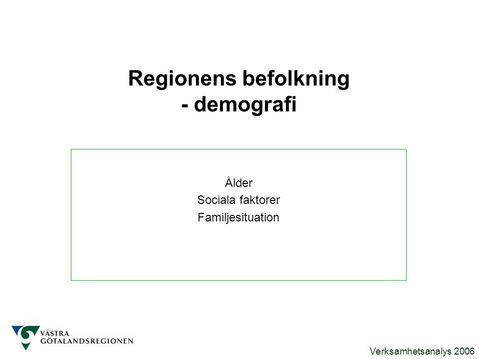 Verksamhetsanalys 2006 Regionens befolkning - demografi Ålder Sociala faktorer Familjesituation