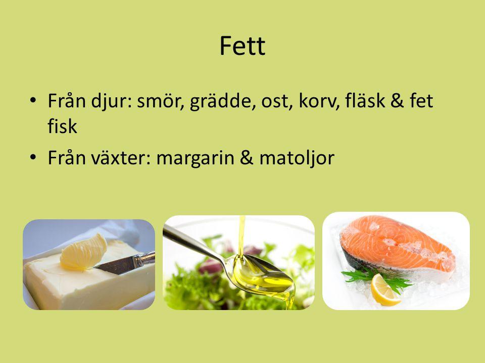 Fett Från djur: smör, grädde, ost, korv, fläsk & fet fisk Från växter: margarin & matoljor