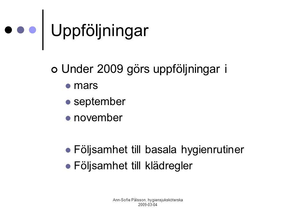 Ann-Sofie Pålsson, hygiensjuksköterska 2009-03-04 Uppföljningar Under 2009 görs uppföljningar i mars september november Följsamhet till basala hygienr