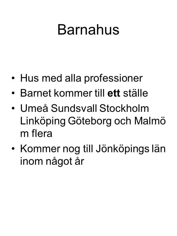 Barnahus Hus med alla professioner Barnet kommer till ett ställe Umeå Sundsvall Stockholm Linköping Göteborg och Malmö m flera Kommer nog till Jönköpi