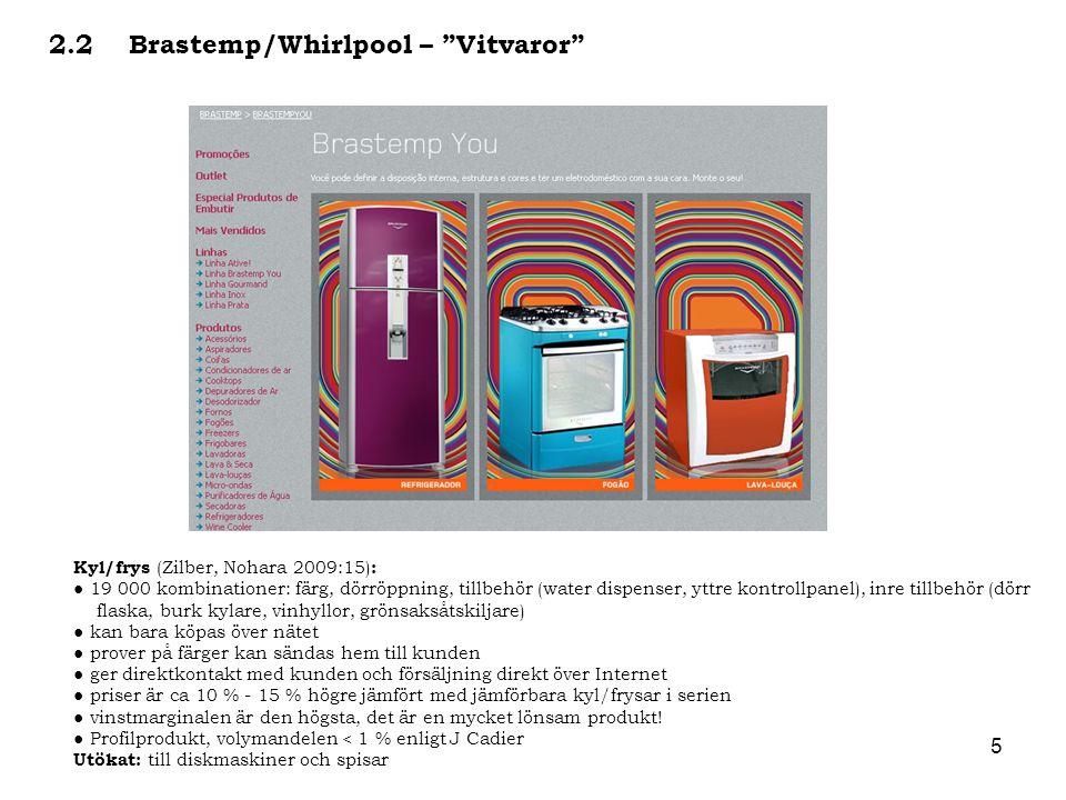 """5 2.2 Brastemp/Whirlpool – """"Vitvaror"""" Kyl/frys (Zilber, Nohara 2009:15) : ● 19 000 kombinationer: färg, dörröppning, tillbehör (water dispenser, yttre"""