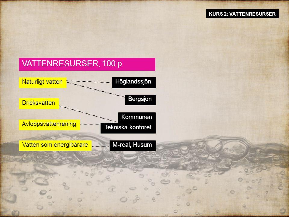 VATTENRESURSER, 100 p Höglandssjön Naturligt vatten Dricksvatten Vatten som energibärare Avloppsvattenrening Bergsjön M-real, Husum Kommunen Tekniska kontoret KURS 2: VATTENRESURSER